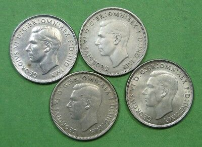 Four (4) Nice Old Florin Silver Coins From Australia