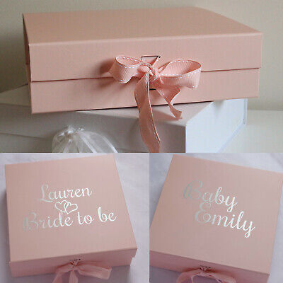 Large Luxury Pink Gift Box Personalised Bride Bridesmaid Baby Girl Keepsake Box