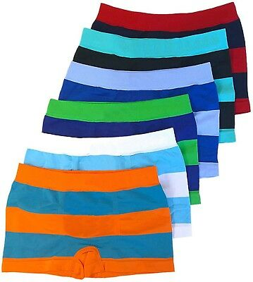 FashionCatch Boy's Pack of 6 Seamless Boxer Briefs Thick Stripes
