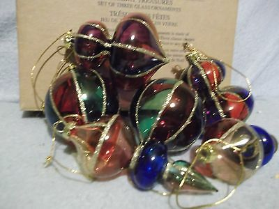 2  boxes of 3 vintage AVON Glass tree ornaments - colorful Holiday treasures