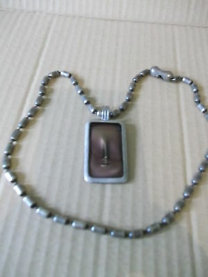 """Bico A hint of wisdom rectangular pewter & enamel pendant with 18"""" chain"""