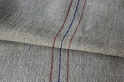 GRAINSACK Vintage hemp linen grain sack red blue heavy rustic primitive