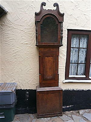 EARLY oak  mahgany    LONGCASE CLOCK case  13x18 inch dial