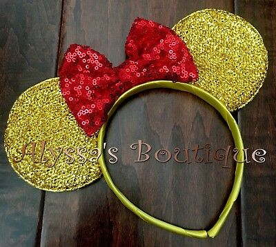 Minnie Mouse Ears Sparkly Gold Red Disney Inspired Beauty And The Beast Belle