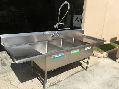 3 Compartment 20x30 Sink with Pre-Rinse Faucet Stainless Steel Tabco #7112 NSF