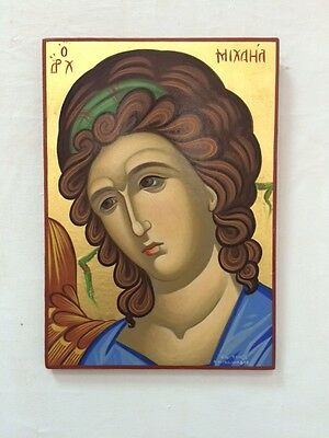 Archangel Michael hand painted Greek Christian Orthodox byzantine icon