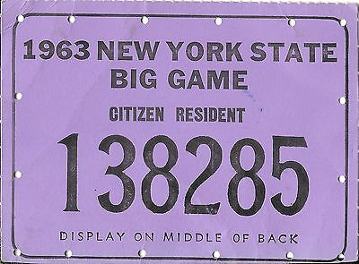 Vintage Hunting Big Game Tag License New York State 1963