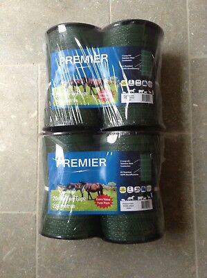 Electric fencing tape 4 rolls of 20mm x 200m GREEN tape 800m total length