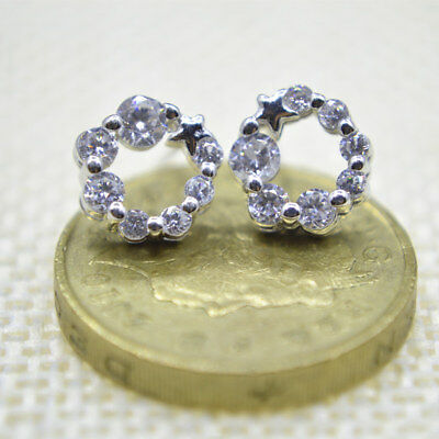 Shiny 925 Sterling Silver Plated Small Cute Star CZ Circle Stud Earrings Gift