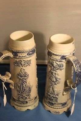 pair (2) Antique German No. 9 Stoneware Beer Stein - RARE