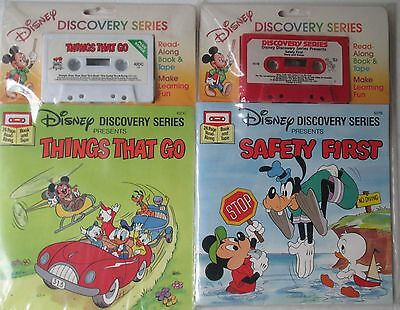 2 New Sealed Disney Discovery Series Book and Tape Safety First, Things That Go