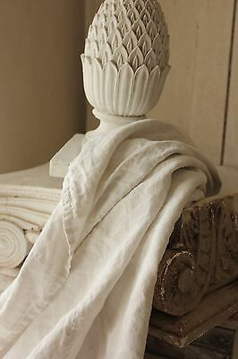 Antique French linen sheet old linen 80X89 upholstery fabric material white