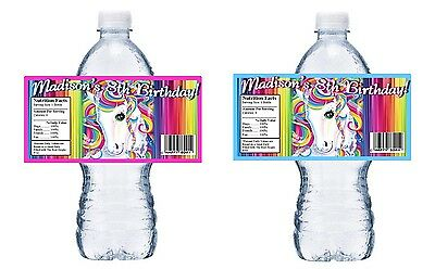 Rainbow Unicorn Personalized Birthday Party Favors Water Bottle Labels Wrappers