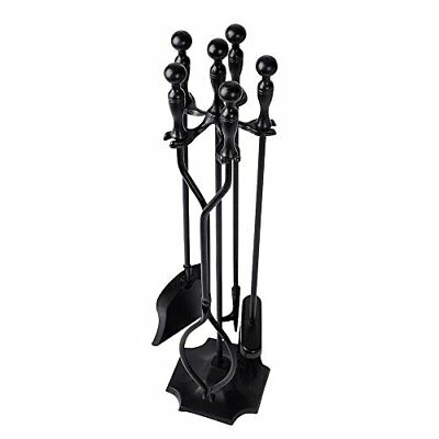 5 Pieces Fireplace Tools Tool Set Wrought Iron Fireset Firepit Fire Place Pit