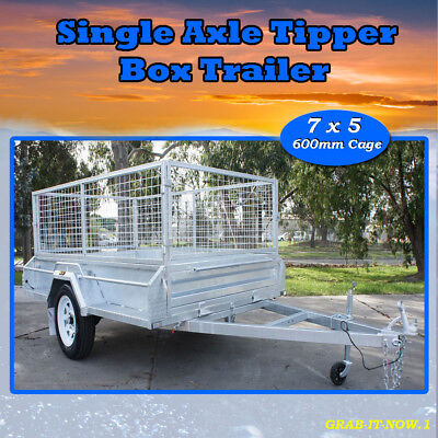 7x5 BOX TRAILER DOMESTIC HEAVY DUTY TIPPER- NEW & 600 CAGE - SINGLE AXLE