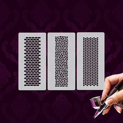 Airbrush Templates Mylar MU04 Nailart 3 Pieces Pattern Stones Honeycomb Tile