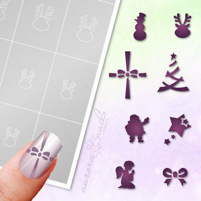 Airbrush + Nailart Stick Templates WS3 Reindeer Winter Christmas Tree Bow