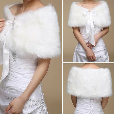 White Fur Wedding Bridal Prom Cape Stole Shawl Shrug Wedding Wraps Coat Shawl