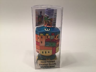 NEW Emanuel Large Wooden Dreidel with Stand, Hanukkah Gift  Made In Israel