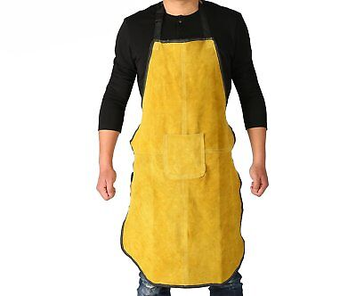 Ouzong Cowhide Leather Welding Bib Apron Heat Flame Resistant Apron With Pocket