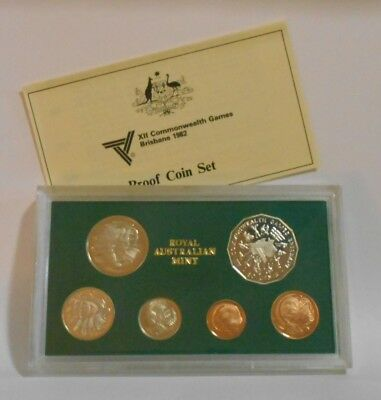 1982 Royal Australian Mint Proof Coin Set - XII Commonwealth Games Brisbane New