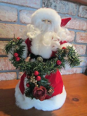 "12"" Father Christmas Tree Topper Centerpiece Red Green & Gold Robe w/ Evergreen"