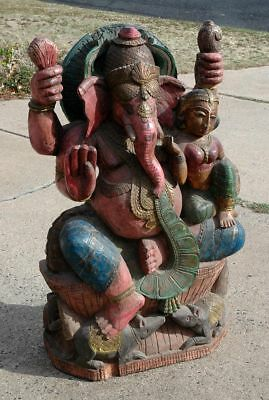 Large Vintage Wooden Temple Ganesha Elephant God Tantric Hindu Ganesh Carving