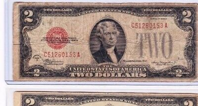 1928 $2 Red Seal Note u get  HIGH circulation, in new currency protector