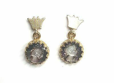 Cameo Dangle Earrings Vintage Women's Pierced Vintage 10k Yellow Gold GV4099