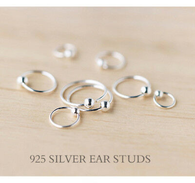 genuine solid 925 sterling silver little circle hoop earring studs 6mm mini size