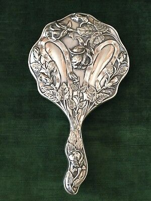 Vintage Antique Art Nouveau Silver Plated Vanity Hand Mirror- Roses With Ribbons