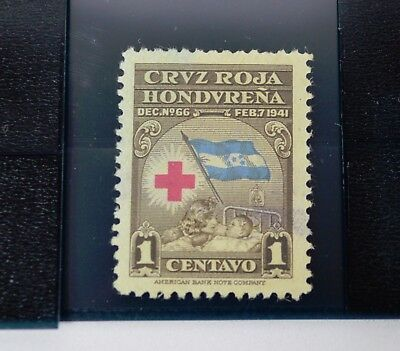 Vintage Honduras 1941 Red Cross Stamp, 1 Cent Centavo (Hinged)