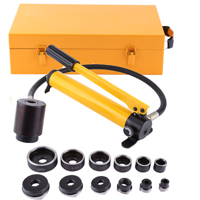 10 Ton 6 Die Hydraulic Knockout Punch Driver Kit Hole Hand Tool Conduit 1/2 to 2