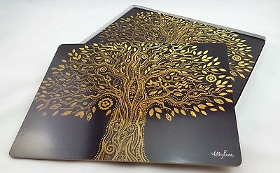 Placemats Tree of Life Gold Black Placemat Cork Back Dining Kitchen *Set of 6*