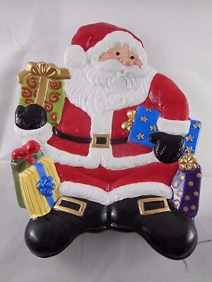 """Vintage Fitz & Floyd Santa Claus with Gifts Cookie Tray Plate 8.5"""" x 10"""""""