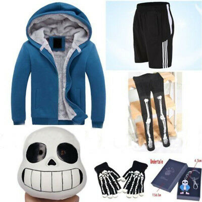 Game Undertale Sans Cosplay Costume Hoodie Shorts Stocking Mask Gloves Halloween