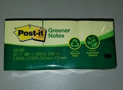 """Post It Notes 1 3/8""""x 1 7/8"""" 12 Pads 100 Sheets/pad (653Rp) Buy More Save More"""