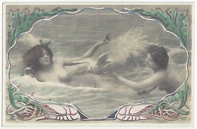 1910 French NUDE Photo - Two Youthful Beauties Play in Beach Surf, Mermaid Theme