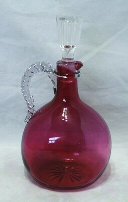 Cranberry Glass Decanter - Twisted Rope Handle