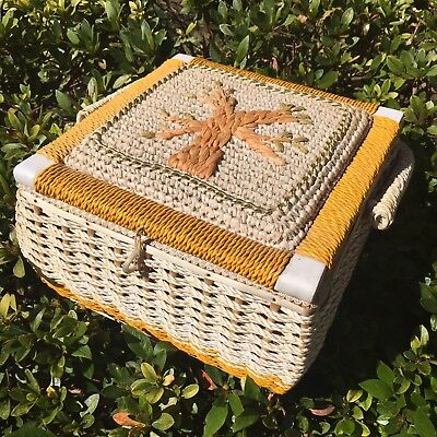 Large Square Vintage Vinyl Wicker Sewing Box With Handle Japan