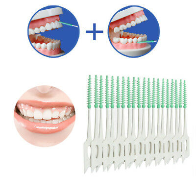 20x Interdental Floss Brushes Dental Oral Care Tool Inter Dental Silicone