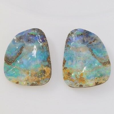 Natural Australian Solid Boulder 56.34Ct Opal Loose Stone Split Pair Specimen