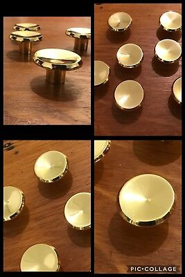 9 Knobs Pulls Round Bright Brass Tone Cabinet Drawer Concave Retro Heavy Vintage