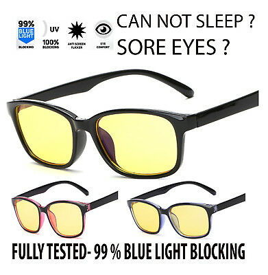 Gaming Glasses New Anti Fatigue Glare Yellow Lens PC Gamers Blue Light Block UK