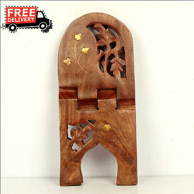 Hand Carved Folding Floral Wood Holy Book Geeta Stand Holder Brass Fitted 7873