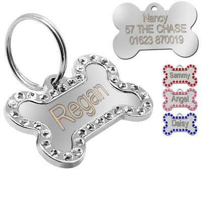 Engraved Pet Dog Tags Bling Rhinestone Cat ID Name Collar Tags Custom