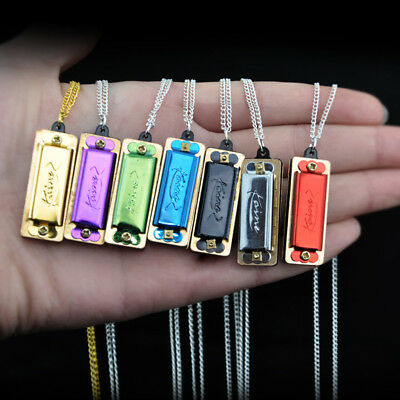 New Mini Metal Necklace Harmonica 4 Hole 8 Tone Musical Chain Music Toy UK