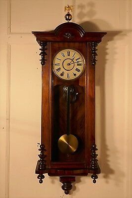 19th Century New Haven Walnut Vienna Regulator Eagle Clock