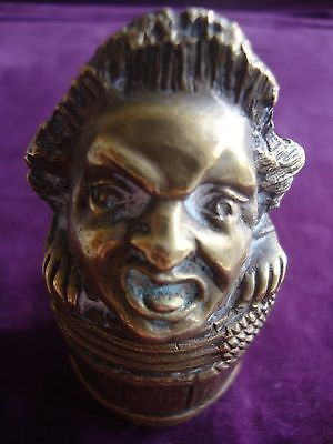 Highly unusual early Victorian grotesque cast brass table vesta? matchsafe
