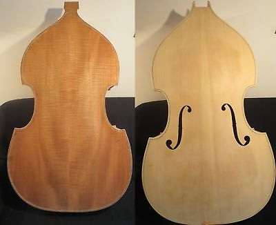 Hand carved white/unfinished 1/2 upright bass,spurce top/Plywood back